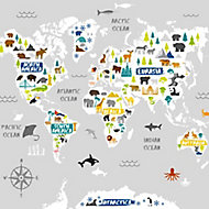 Art for the Home Multicolour World map jungle Matt Mural