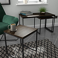 Atico Dark stained wood effect Side table (H)40cm (W)40cm