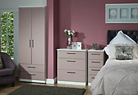Azzurro Contemporary Mirrored Matt pink & white Tall Triple Wardrobe (H)1970mm (W)1110mm (D)530mm