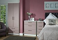 Azzurro Matt pink & white 5 Drawer Tall Chest (H)1075mm (W)395mm (D)415mm
