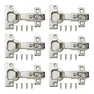 B&Q Nickel-plated Metal Unsprung Concealed hinge (L)35mm, Pack of 6
