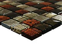Bangkok Multicolour Stone effect Glass & marble Mosaic tile, (L)300mm (W)300mm