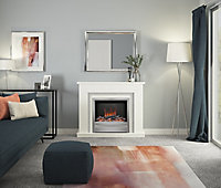 Be Modern Alena White Chrome effect Electric Fire suite