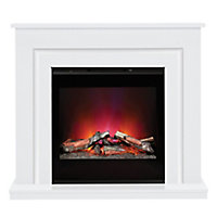 Be Modern Calida White & black Glass effect Electric Fire suite