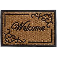 Black & natural Door mat (L)0.4m (W)0.4m