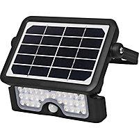 Black Solar-powered Neutral white LED Floodlight 550lm