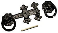 Blooma Black Antique effect Iron Ring gate latch, (L)152mm