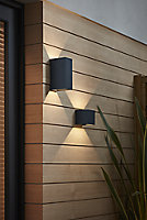 Blooma Edna Matt Charcoal grey Mains-powered LED Outdoor Wall light 712lm