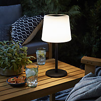 Blooma Elgini Black & white Solar-powered LED Outdoor Table lamp