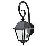 Blooma Newtok Matt Black Mains-powered Halogen Outdoor Lantern Wall light
