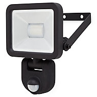 Blooma Weyburn Black Mains-powered Cool white Outdoor LED PIR Motion sensor Floodlight 800lm