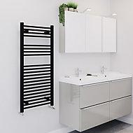 Blyss 489W Electric Matt Black Towel warmer (H)1100mm (W)500mm
