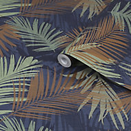 Boutique Jungle glam Blue, copper & green Leaves Smooth Wallpaper