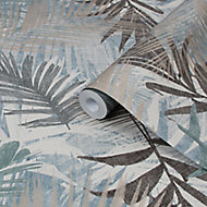 Boutique Jungle glam Blue & green Leaves Metallic effect Smooth Wallpaper