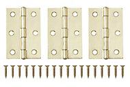 Brass-plated Metal Butt Door hinge (L)75mm N162, Pack of 3
