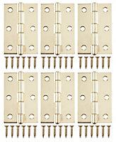 Brass-plated Metal Butt Door hinge (L)75mm N422, Pack of 6