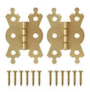 Brass-plated Metal Flush Door hinge (L)50mm NO92, Pack of 2