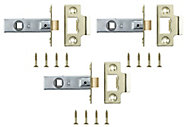 Brass-plated Metal Tubular Mortice latch (L)64mm, Pack of 3