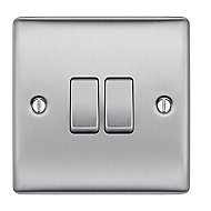 British General 10A 2 way Brushed stainless steel effect Double Light Switch