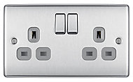 British General 13A Stainless steel effect Double Switched Socket