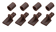 Brown Plastic Shelf support (L)26mm, Pack of 12