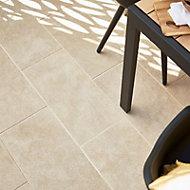 Burgundy Beige Matt Stone Stone effect Porcelain Outdoor Floor tile, Pack of 7, (L)600mm (W)300mm