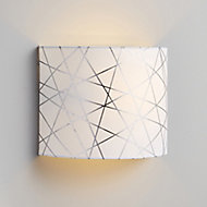 Carme Foil printed Silver & white Wired Wall light