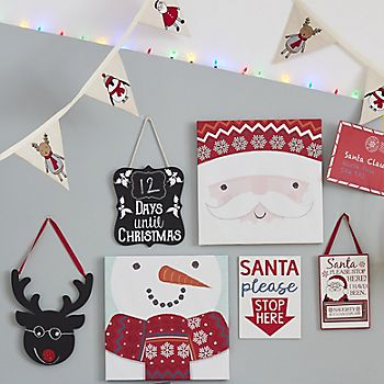 Collection of Merry & Bright chalkboards and wall art
