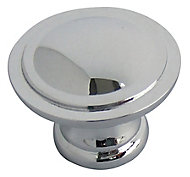 Chrome effect Zinc alloy Round Furniture Knob (Dia)35mm, Pack of 6