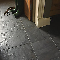 Cirque Black Matt Plain Stone effect Ceramic Floor tile, Pack of 9, (L)333mm (W)333mm