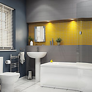 City chic Grey Matt Plain Stone effect Ceramic Wall tile, Pack of 17, (L)400mm (W)150mm