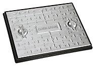 Clark Rectangular Framed 25t Manhole cover, (L)600mm (W)450mm (T)23mm