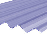 Clear PVC Corrugated Roofing sheet (L)2.5m (W)950mm (T)0.8mm