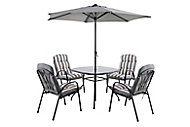 Colorado Metal 4 seater Dining set with Parasol
