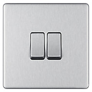 Colours 10A 2 way Steel effect Double Switch