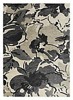 Colours Antonia Floral Beige & black Rug (L)1.7m (W)1.2m