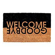 Colours Edra Welcome, Goodbye Black & white Door mat (L)0.75m (W)0.45m