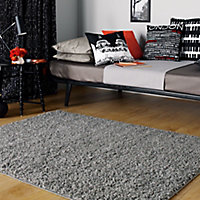 Colours Kala Grey Rug (L)1.6m (W)1.2m