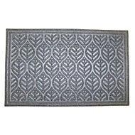 Colours Leaf Grey Door mat (L)0.9m (W)0.6m
