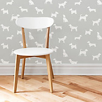 Colours Pooch Grey Dogs Mica effect Smooth Wallpaper