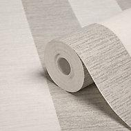 Colours Shimmer White Striped Silver glitter effect Wallpaper