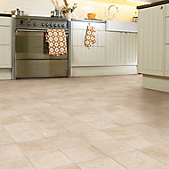 Colours Valiha Beige Tile effect Vinyl flooring, 6m²