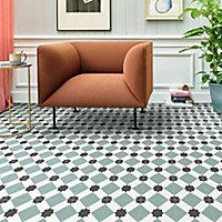 Colours Vinyl rolls Teal & black Mosaic Tile effect Vinyl Flooring, 4m²