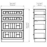 Como Grey oak effect 4 Drawer Chest (H)1080mm (W)770mm (D)410mm