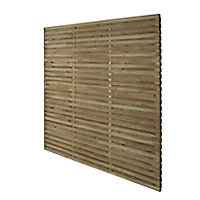 Contemporary Double slatted Fence panel (W)1.8m (H)1.8m, Pack of 5