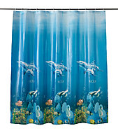 Cooke & Lewis Andrano Multicolour Seafloor Shower curtain (L)1800mm