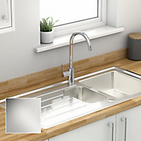 Cooke & Lewis Apollonia Satin Grey Stainless steel 1.5 Bowl Sink & drainer