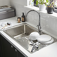 Cooke & Lewis Apollonia Satin Stainless steel 1 Bowl Sink & drainer