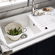 Cooke & Lewis Burbank White Ceramic 1 Bowl Sink & drainer