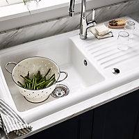 Cooke & Lewis Burbank White Ceramic 1 Bowl Sink & drainer